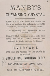 Advert For Manby's Cleansing Crystal reverse